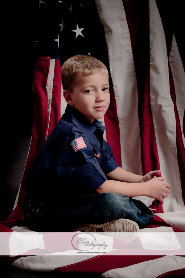 Children's Portrait with American flag