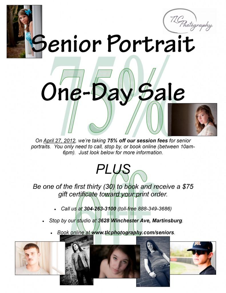 Senior Portrait One Day Sale