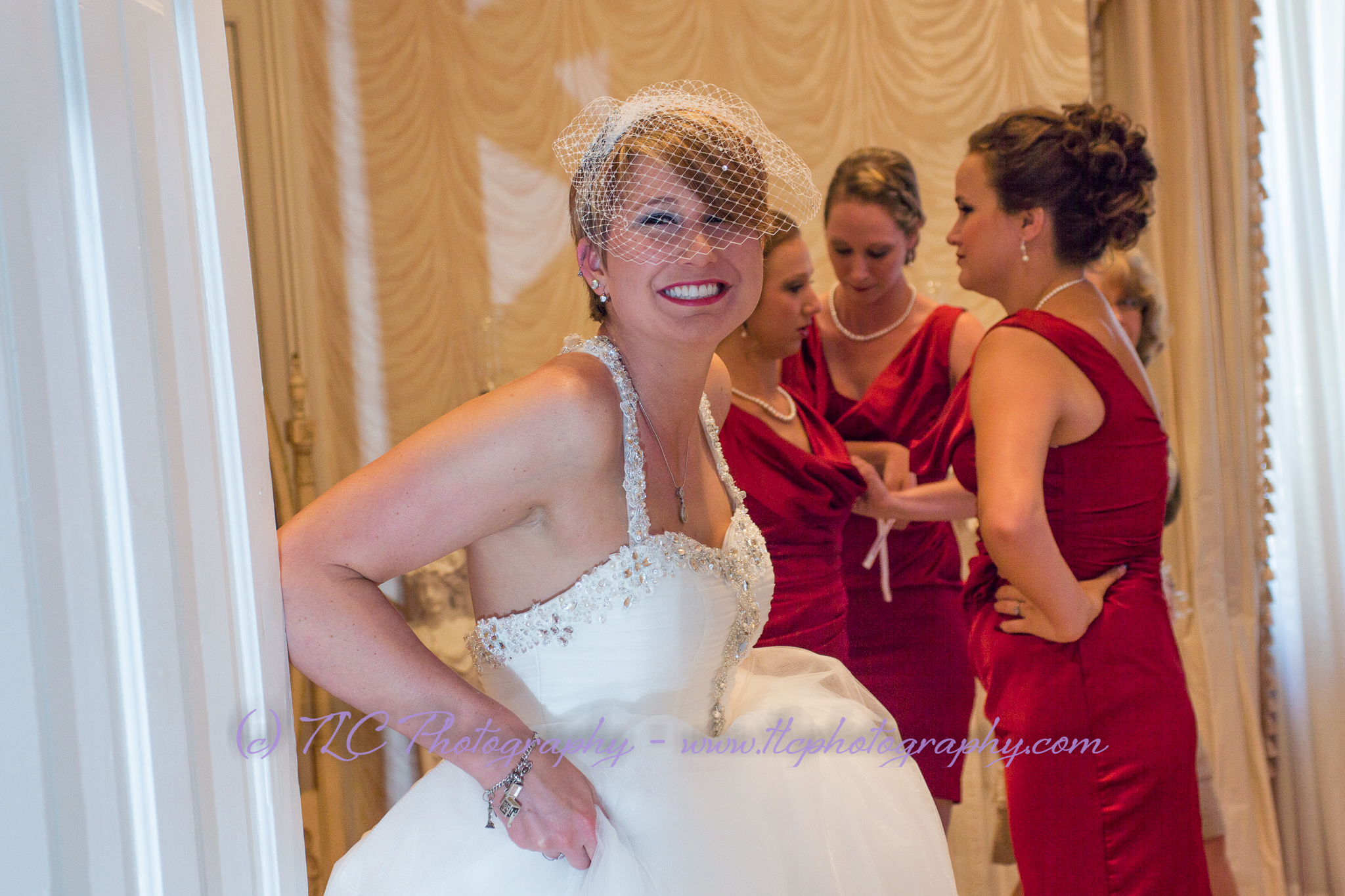 The bride getting ready at McFarland House's Bridal Suite