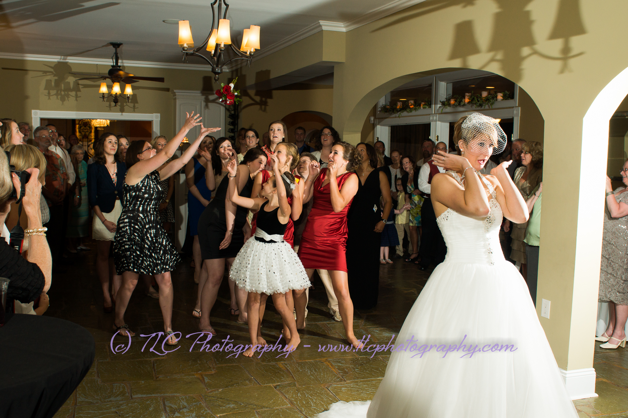Bouquet toss at the wedding